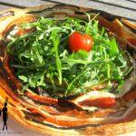Torta con melanzane, pomodoro e prosciutto di pollo