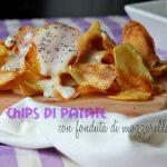 Chips di patate con fonduta di mozzarella di bufala